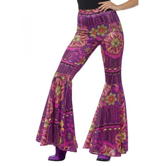Pantalón Acampanado de Hippie de color Rosa para Adulto
