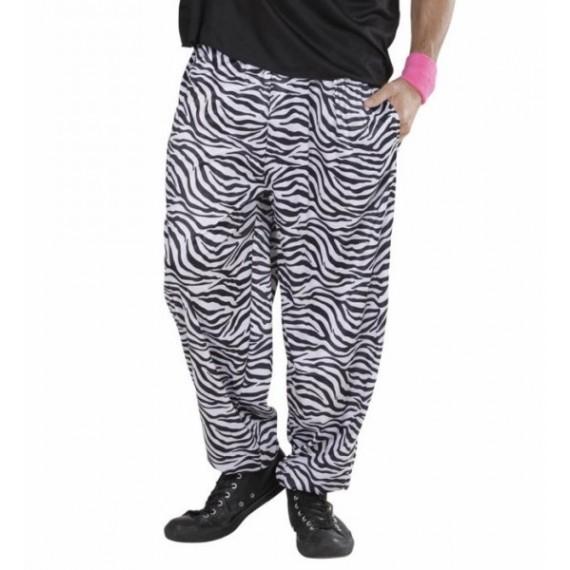 Pantalón de los años 80s de color Blanco y Negro para Adulto