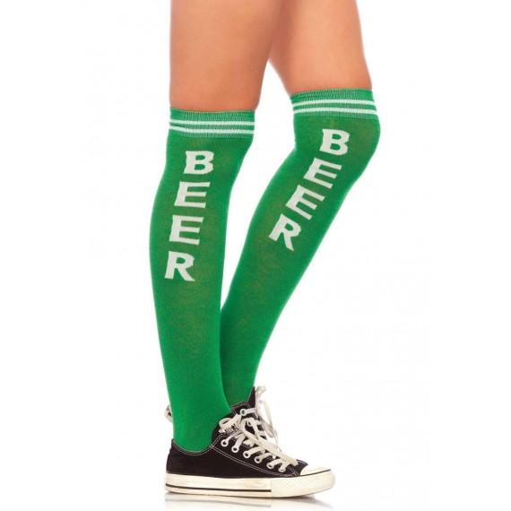 Calcetines de Tiempo de Cerveza de color Verde para Adulto