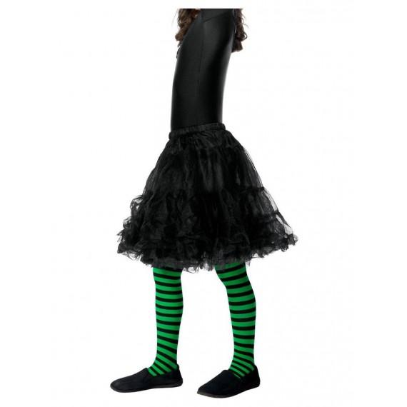 Pantis de Bruja Malvada a Rayas de color Verde y Negro Infantil