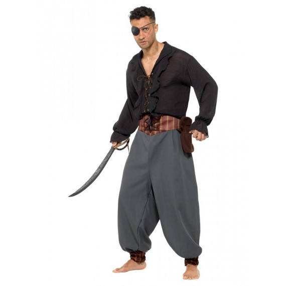 Pantalón Bombacho de Pirata Negro con Bolsillos para Adulto