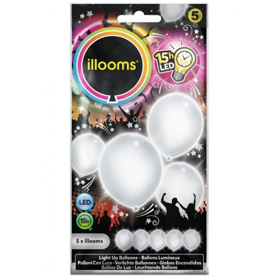 Globo 5 Unidades de color Blanco con Luz LED Illooms