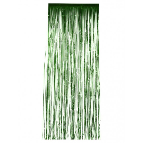 .Cortina de Flecos Brillantes de color Verde de 91 x 244 Centímetros