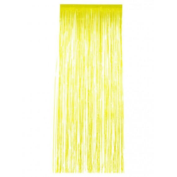 .Cortina de Flecos Brillantes de color Amarillo de 91 x 244 Centímetros