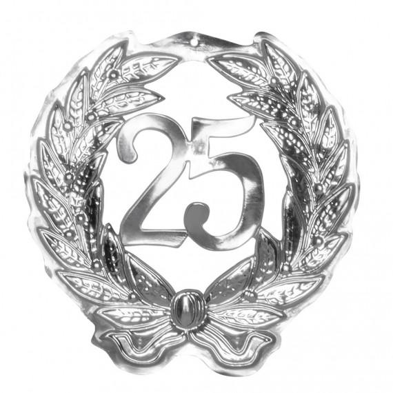 Colgante de color Plata con Número 25 de 45 x 42 Centímetros