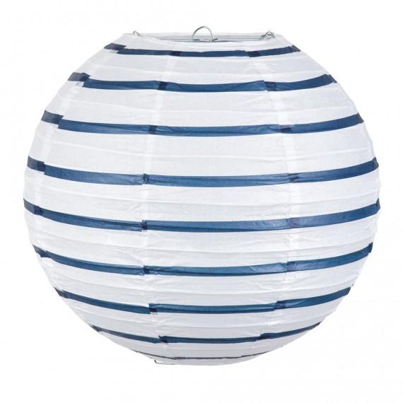 Farol de Papel de color Blanco y Azul de 25 Centímetros
