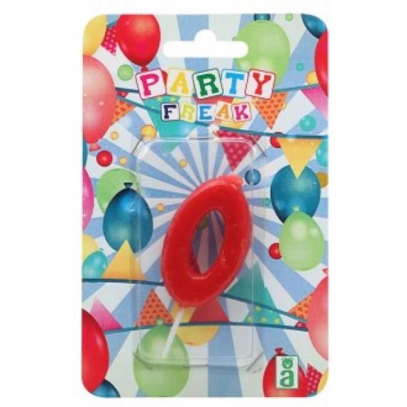 Vela de Cumpleaños Número 0 de 9 x 14 x 2 Centímetros de color Rojo