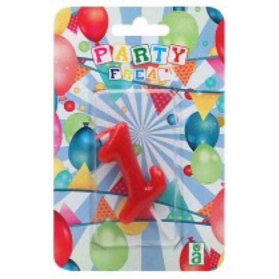 Vela de Cumpleaños Número 1 de 9 x 14 x 2 Centímetros de color Rojo