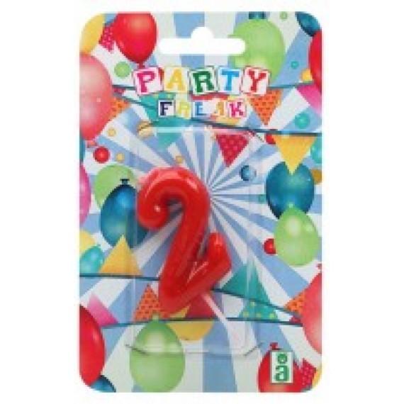 Vela de Cumpleaños Número 2 de 9 x 14 x 2 Centímetros de color Rojo