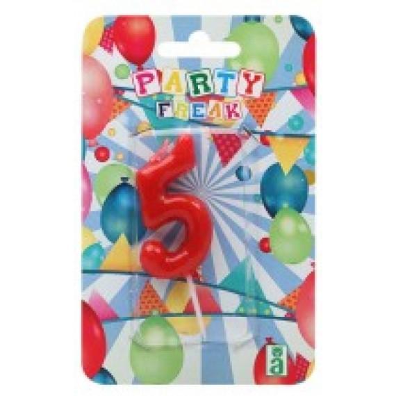 Vela de Cumpleaños Número 5 de 9 x 14 x 2 Centímetros de color Rojo