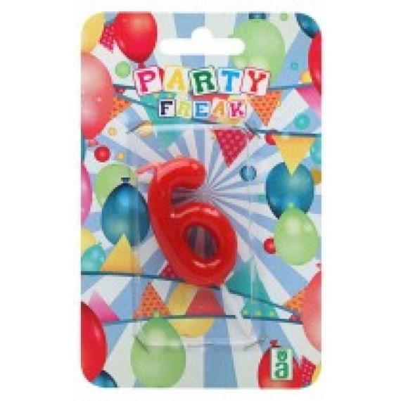 Vela de Cumpleaños Número 6 de 9 x 14 x 2 Centímetros de color Rojo