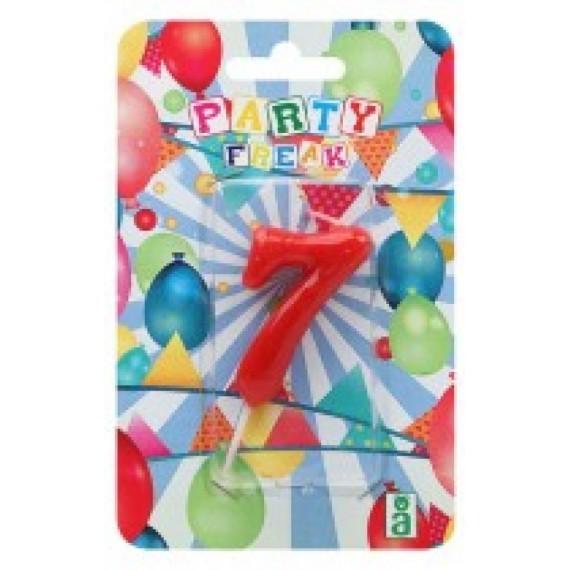 Vela de Cumpleaños Número 7 de 9 x 14 x 2 Centímetros de color Rojo