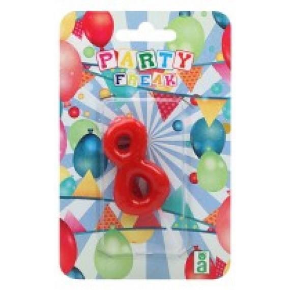 Vela de Cumpleaños Número 8 de 9 x 14 x 2 Centímetros de color Rojo
