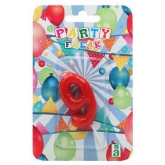 Vela de Cumpleaños Número 9 de 9 x 14 x 2 Centímetros de color Rojo