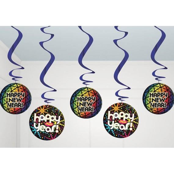 Bolsa con 5 Colgantes Happy New Year de 60 cms