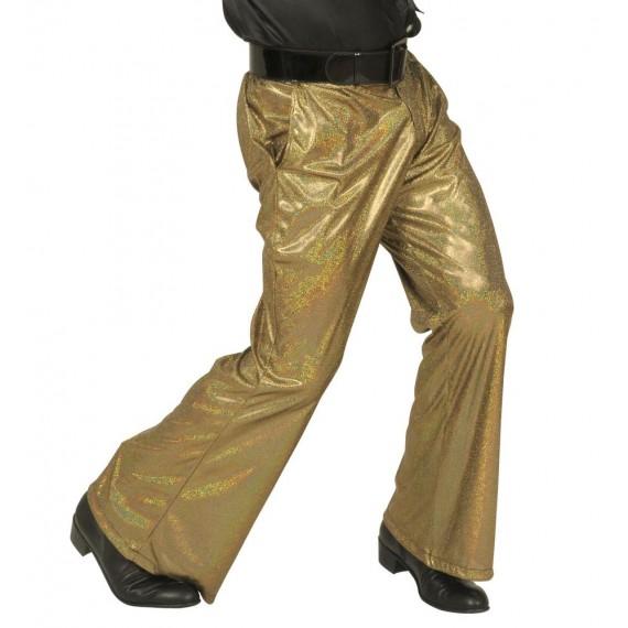Pantalón Acampanado de color Oro para Adulto