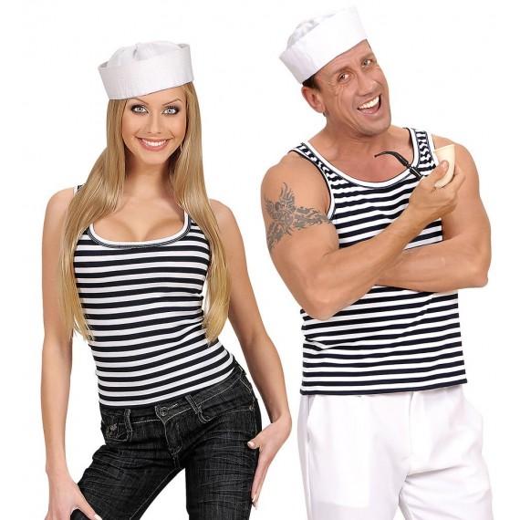 Camiseta sin Mangas de Marinero con Rayas para Adulto