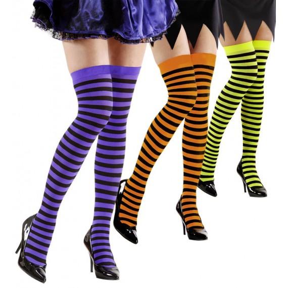 Calcetines Rayados Fluorescentes de 70 DEN Varios Colores para Adulto