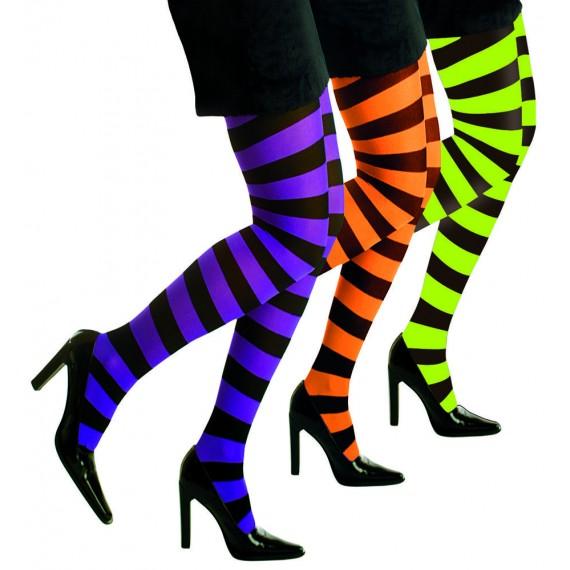 Medias de Rayas Fluorescentes de 70 Den Varios Colores para Adulto