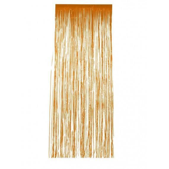 .Cortina de Flecos Brillantes de color Naranja de 91 x 244 Centímetros
