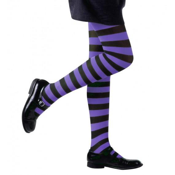 Medias de Rayas de color Violeta y Negro de 70 DEN Infantil