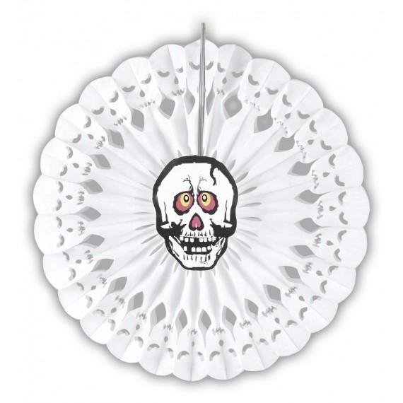 Abanico de Calavera de color Blanco de 50 Centímetros