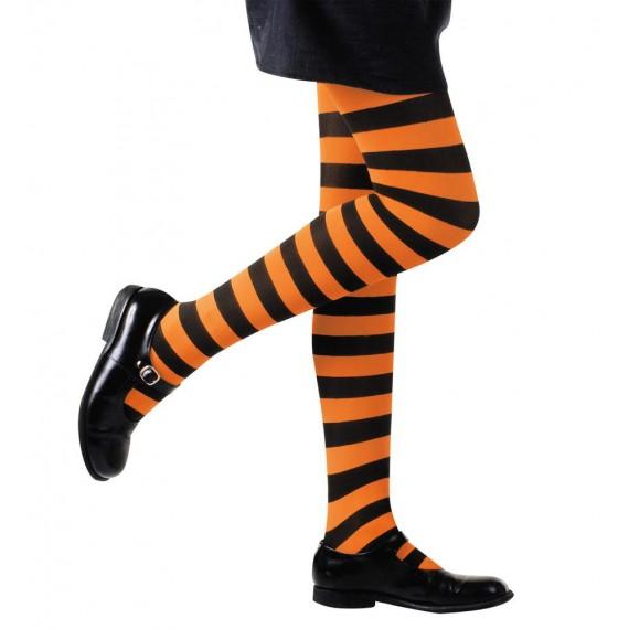 Medias de Rayas de color Naranja y Negro de 70 DEN Infantil