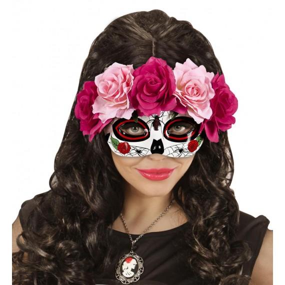 Antifaz del Día de los Muertos Mexicano con Rosas para Adulto