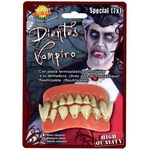 Dientes de Vampiro con Pasta Termoplástica Amoldable para Adulto
