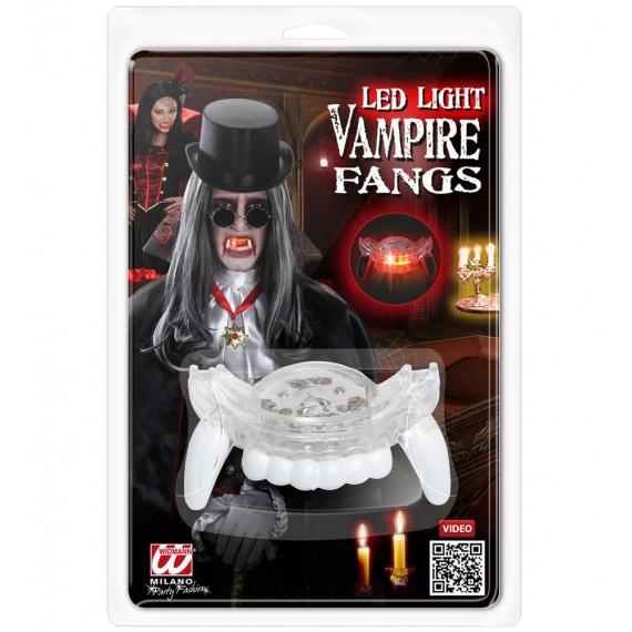 Dientes de Vampiro con Luz Led de color Rosa para Adulto