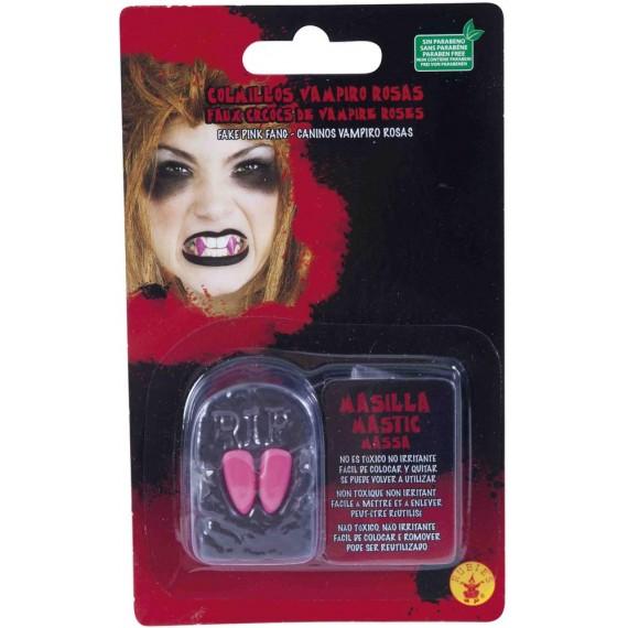 Colmillos de Vampiro de color Rosa para Adulto