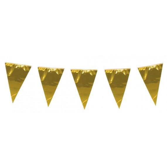 .Guirnalda de Banderines Metálicos de color Oro de 10 Metros