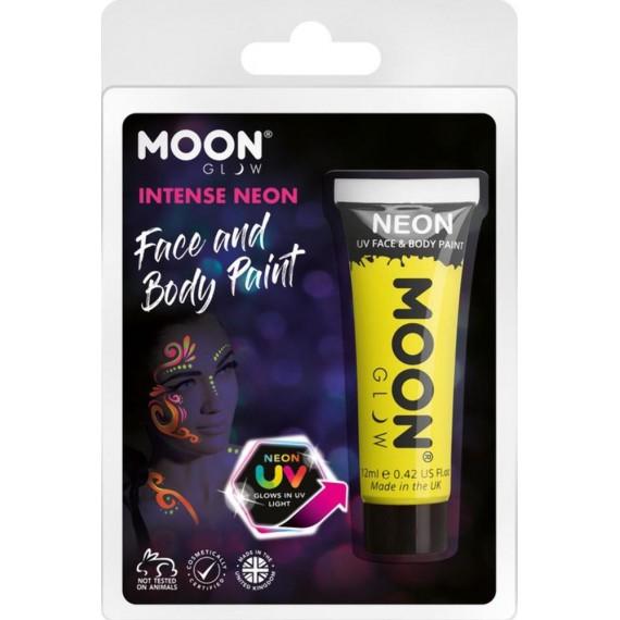 Maquillaje Moon Glow Intense Neón UV de color Amarillo de 12 Mililitros para Cuerpo y Cara