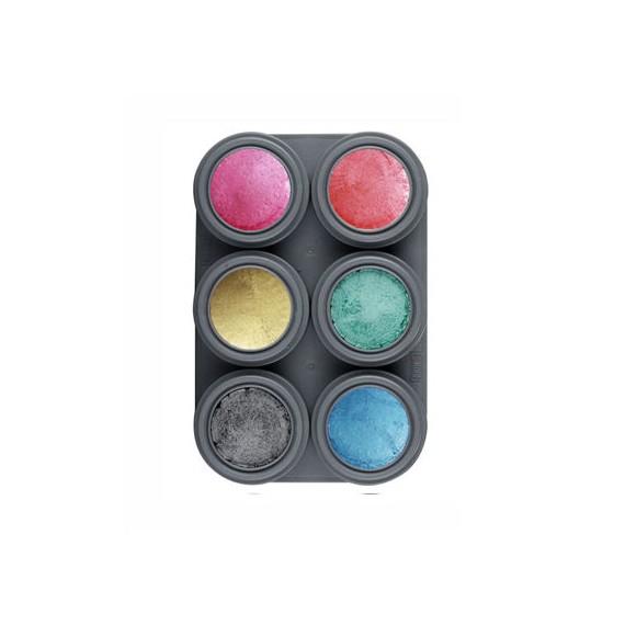 Paleta de Maquillaje al Agua Brillante P6 de 2,5 Mililitros de Grimas