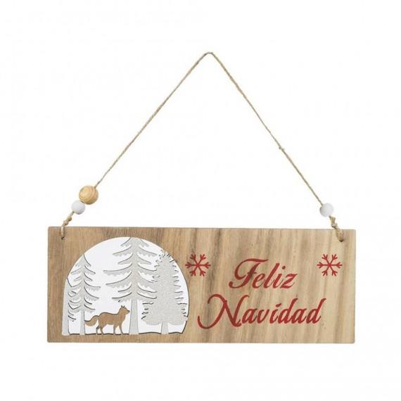 Cartel de Madera Feliz Navidad de 22 Centímetros