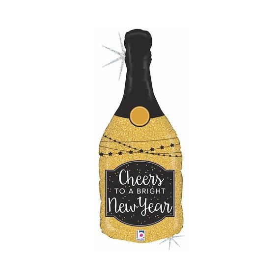 Globo 100% Biodegradable de Botella Champagne Holográfica New Year de 91 Centímetros