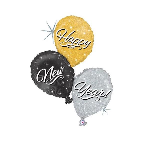 Globo de Trío Happy New Year de 102 Centímetros