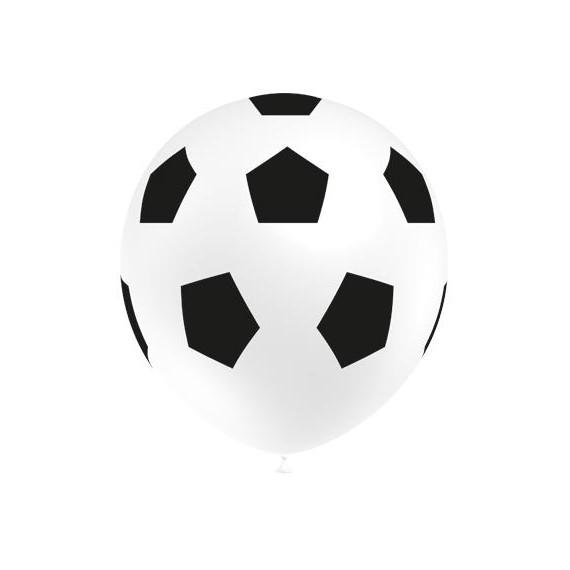 Globo de Balón de Fútbol 50 Unidades de 30 Centímetros de color Blanco 100% Biodegradable