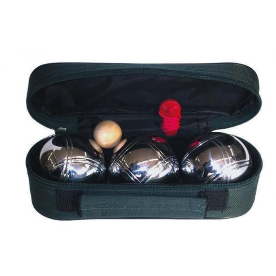 Juego de Petanca Profesional con 3 Bolas de Acero Cromado con Dos Rayas