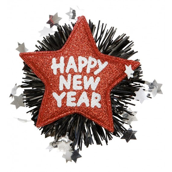 Broche de Happy New Year de color Rojo para Adulto
