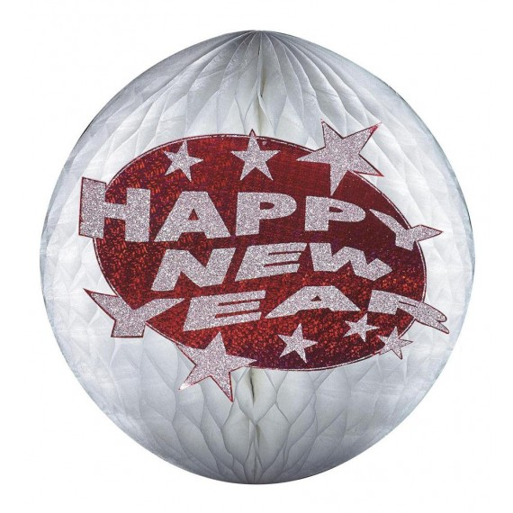Bola de Panal de Happy New Year 25 Centímetros con Purpurina Roja