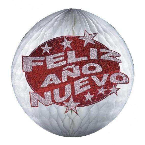 Bola de Panal de Feliz Año Nuevo 25 Centímetros con Purpurina Roja