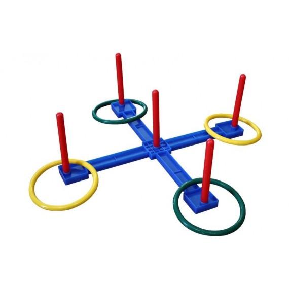 Cruz de Plástico de 45 x 45 x 16 Centímetros para Lanzamiento de Aros con Aros