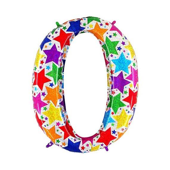 .Globo de Número 0 de 100 Centímetros Holográfico Multicolor