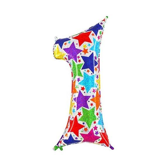 Globo Número 1 Holográfico Multicolor de 100 Centímetros
