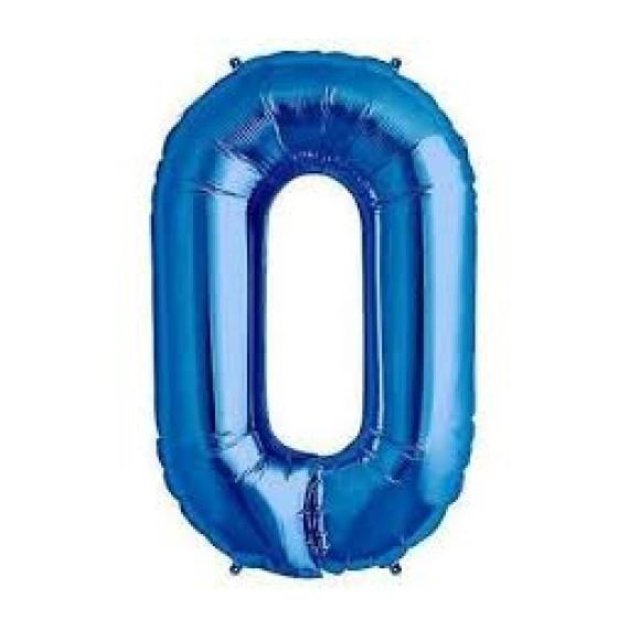 Globo Número 0 de 86 Centímetros de Poliamida de color Azul