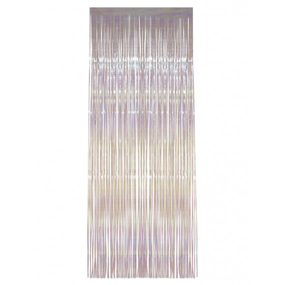 Cortina de Flecos Brillantes de color Blanco de 91 x 244 Centímetros