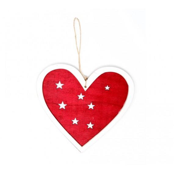 Corazón de Madera de 20 Centímetros de color Rojo