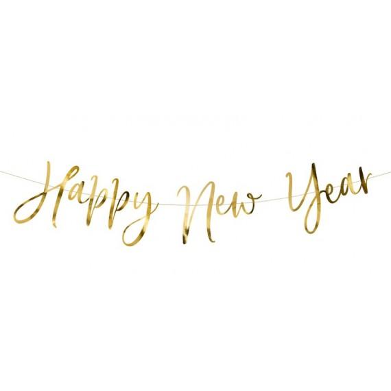 Guirnalda de Happy New Year Metálica de color Oro de 66 x 18 Centímetros