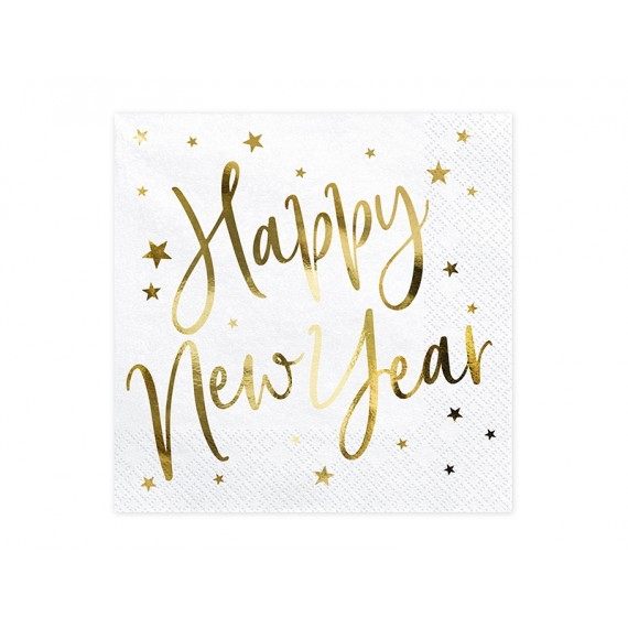 Servilleta de Happy New Year 20 Unidades de 30 x 30 Centímetros de color Blanco